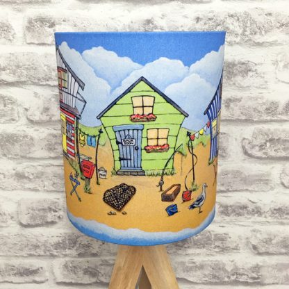 green chalet showing on five little beach huts by the sea lampshade