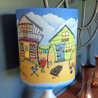 five colourful little beach huts by the sea lampshade