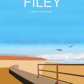 A4 digital art poster print of filey brigg and coble landing with seagulls and filey written at the top