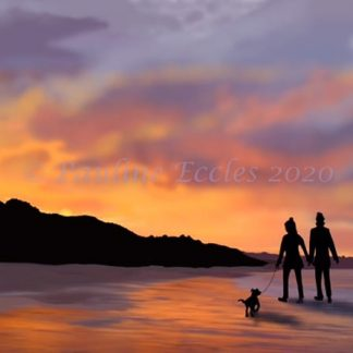 A4 print of a couple with a dog walking across the beach towards filey brigg at sunset