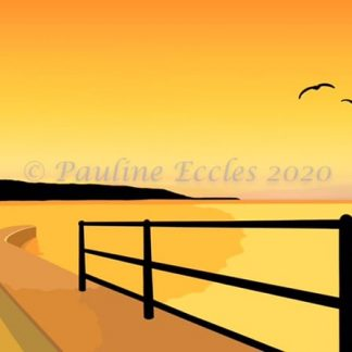 Landscape Digital Art of a golden sunrise from Filey's Coble Landing slipway looking towards Filey Brigg