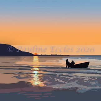 Landscape A4 digital art print of a coble fishing boat in Filey Bay at dawn