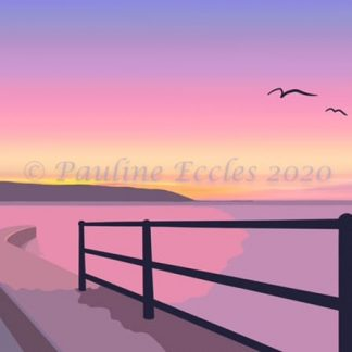 pink sunrise from landing Filey