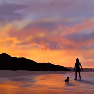 a girl walking her dog on the beach in filey as the sun sets